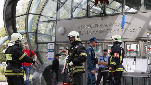 Emergency services outside Slaviansky Boulevard station