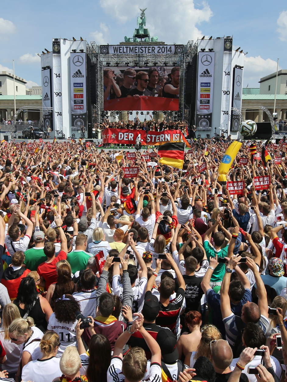 German fans welcome home their World Cup winning national team in Berlin