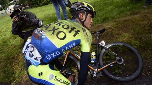 Alberto Contador broke his shin during a crash on the Tour de France