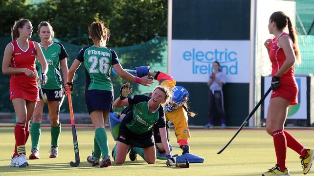 Ireland's Alexandra Speers celebrates scoring