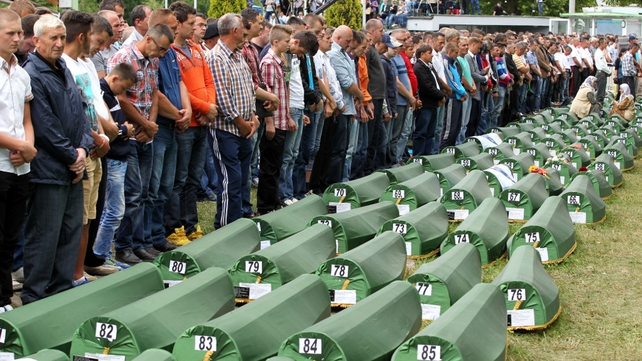 A burial at the Potocari Memorial Center last week, as part of a ceremony to mark the 19th anniversary of the Srebrenica massacre