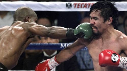 In April, Pacquiao (r) scored a points win over Timothy Bradley to regain the WBO welterweight title