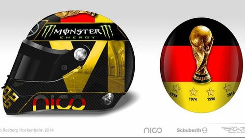 Nico Rosberg had planned on featuring an image of the World Cup trophy on his helmet at Hockenheim