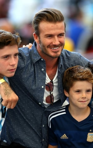 David Beckham and sonsbefore the 2014 FIFA World Cup Brazil Final match between Germany and Argentina.
