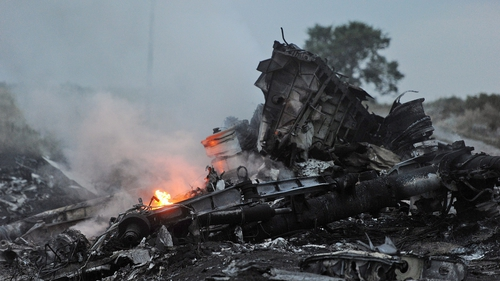 The wreckage is spread over a wide area of eastern Ukraine