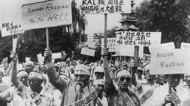 Members of an aged peoples' group staged a rally in Seoul  3 September 1983 to protest against the downing of a Korea Air jetliner with 269 people aboard