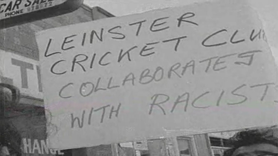Anti-apartheid protest at cricket match.