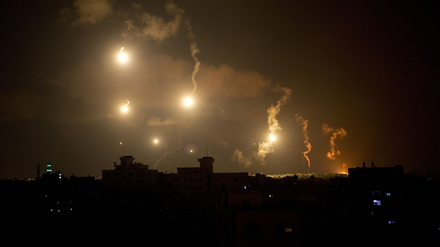 Israeli army flares illuminates the sky above Gaza