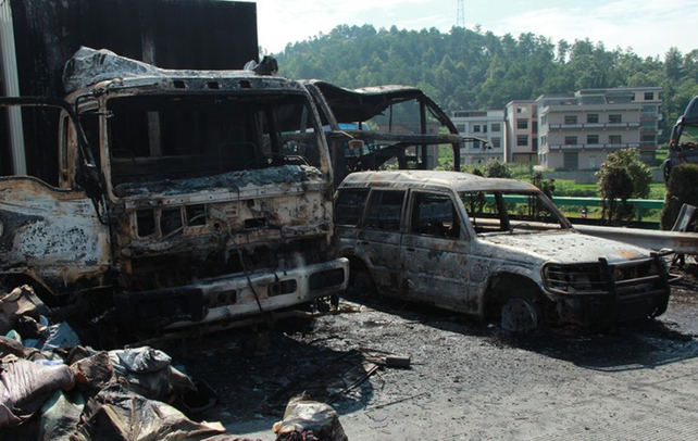 The collision in Hunan province triggered a fire and explosion  Pic: courtesy of EPA