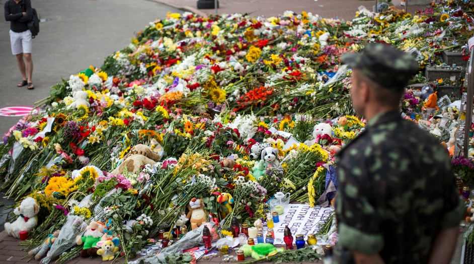Flower tributes outside Dutch embassy in Kiev