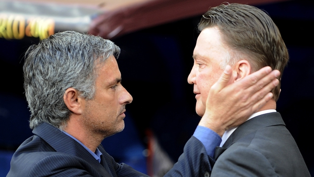 Then Bayern Munich's head coach Louis van Gaal (R) and then Inter Milan coach Jose Mourinho at the Champions League final in 2010
