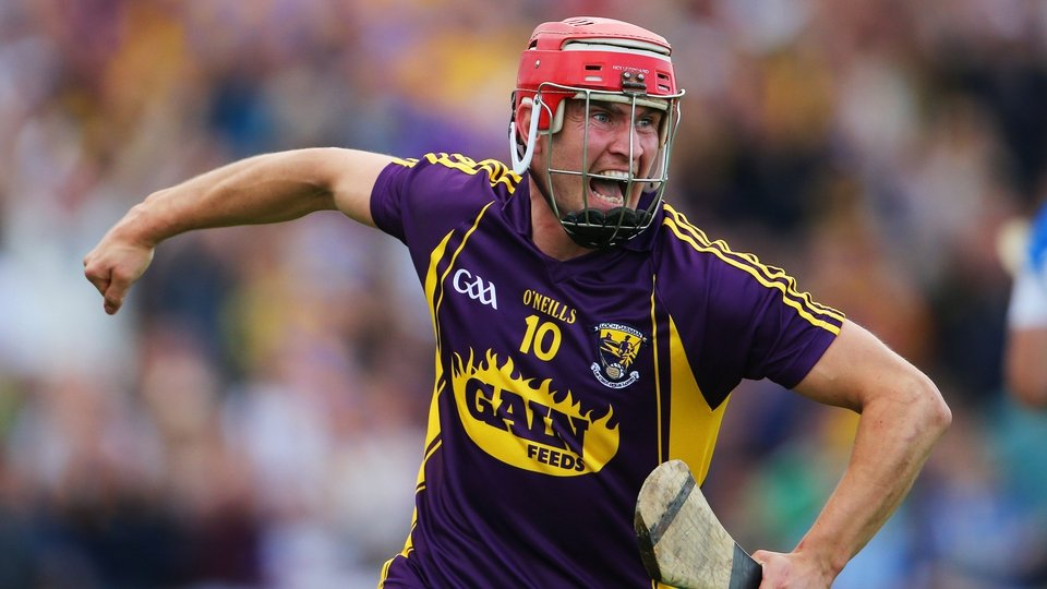 Wexford's Paul Morris celebrates scoring the opening goal against Waterford