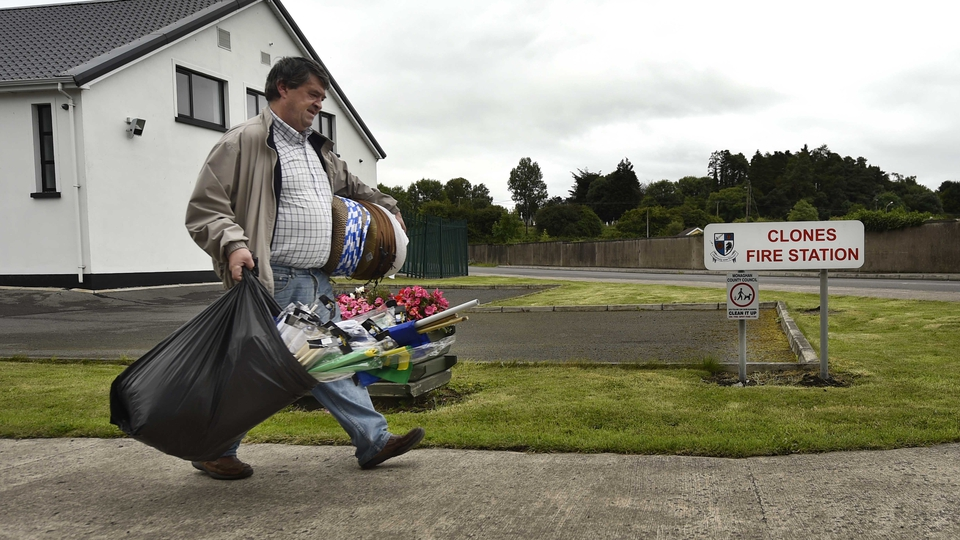 A merchandise seller makes his way to the Clones venue ahead of the Ulster final