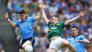 Meanwhile, in Croke Park, Dublin's Diarmuid Connolly and Andrew Tormey of Meath compete for the ball