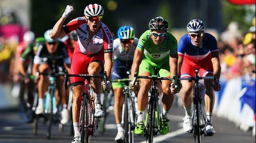 Alexander Kristoff punches the air in celebration