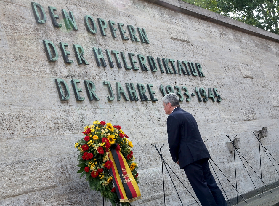 German President Joachim Gauck lays a wreath during a ceremony to mark the 70th anniversary of the failed plot to assassinate Adolf Hitler