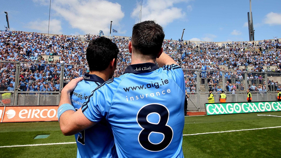 Dublin's Cian O'Sullivan and Michael Darragh MacAuley celebrate in front of the Hill