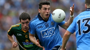 Bernard Brogan looks shocked to find himself with the ball