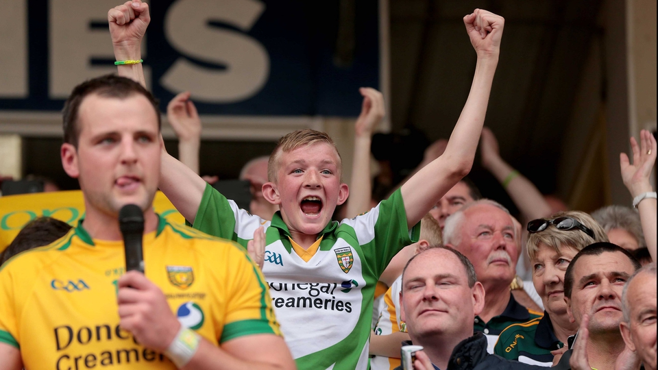 A Donegal fan delights as Michael Murphy delivers his speech