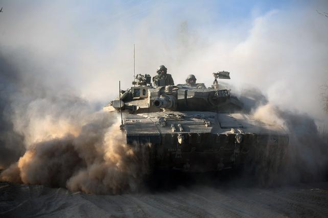 An Israeli Merkava tank near Israel's border with the Gaza Strip