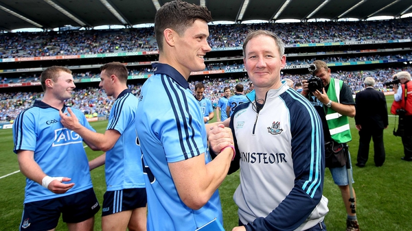 Jim Gavin and Diarmuid Connolly celebrate after Dublin's Leinster SFC final win over Meath