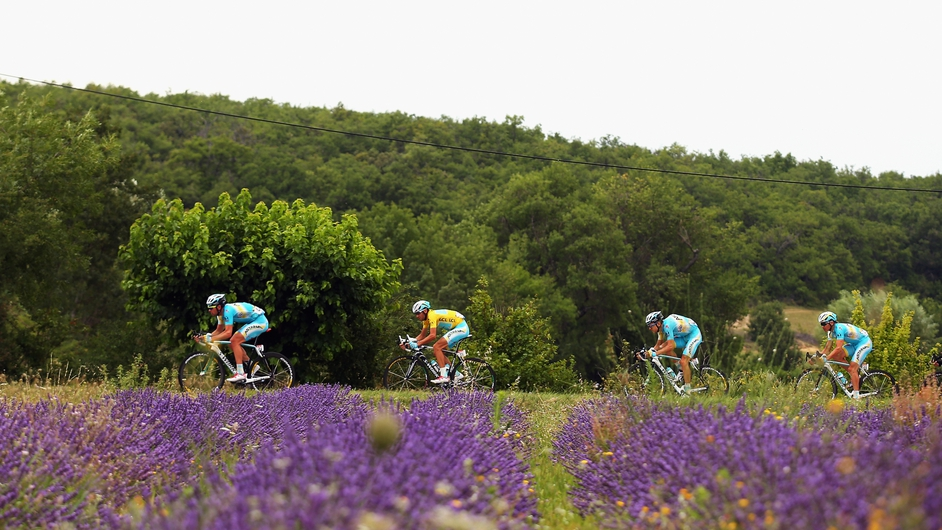 Tour de France leader Vincenzo Nibali (yellow jersey) and his Astana teammates on Stage 15 of the race