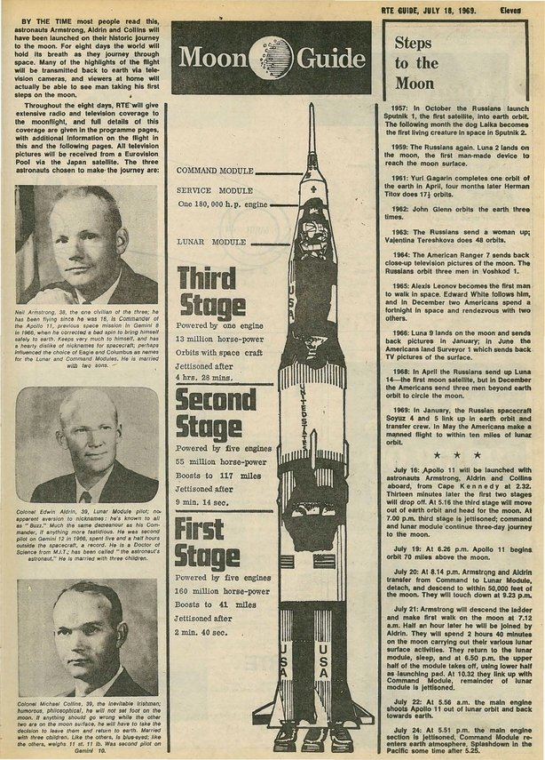 RTE Guide Cover Moon Landing 18 July 1969 p 11