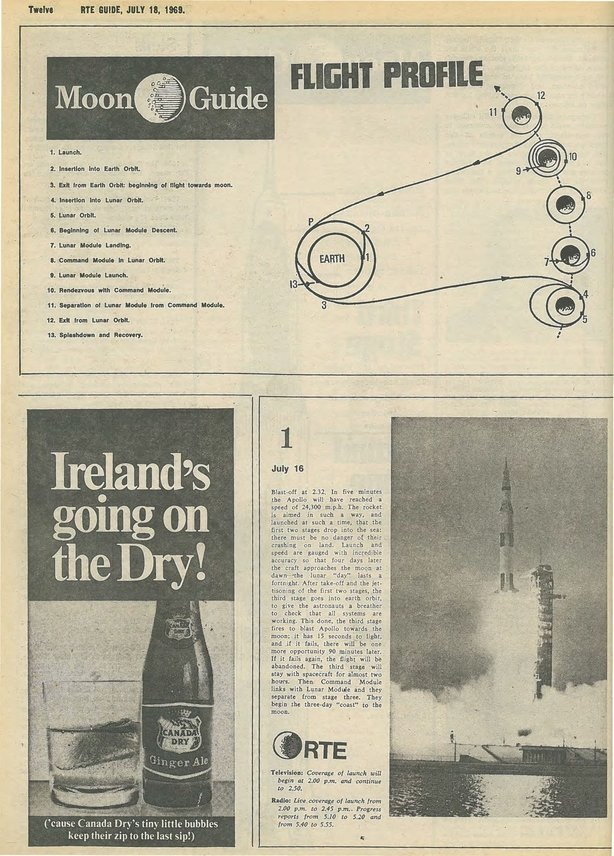 RTE Guide Cover Moon Landing 18 July 1969 p 12