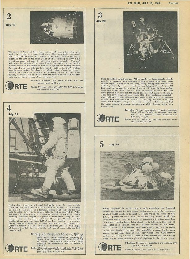RTE Guide Cover Moon Landing 18 July 1969 p 13