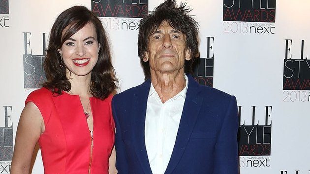 Ronnie Wood and third wife Sally Humphries pictured last year
