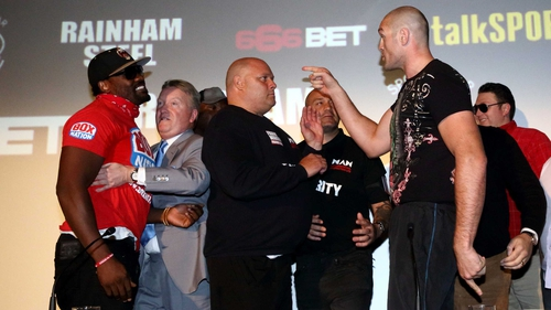 Tyson Fury goads Derek Chisora at a recent press conference