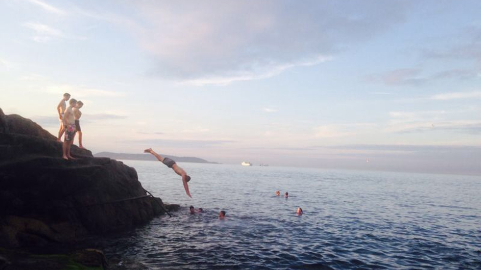Swimmers enjoy an evening swim at the Forty Foot (Pic: Claire Murray)