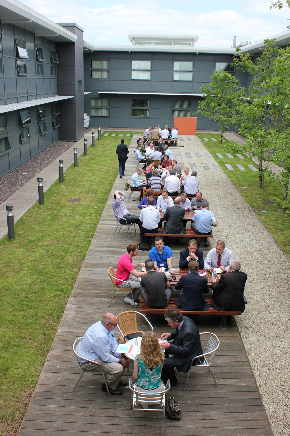 Can you work al fresco? The team at CIT's Nimbus Centre is certainly making the most of the good weather (Pic: Ray O Cinneide)