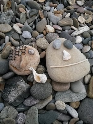 Making faces on the beach in Tramore (Pic: Geraldine O'Farrell)