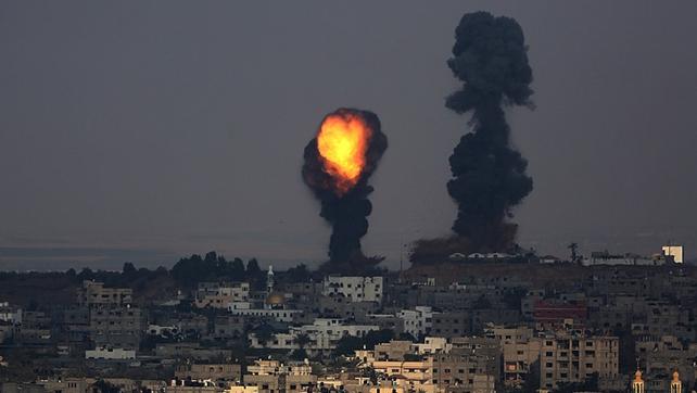 Smoke rises after an Israeli airstrike in Al Shejaeiya neighbourhood during a military operation in eastern Gaza City