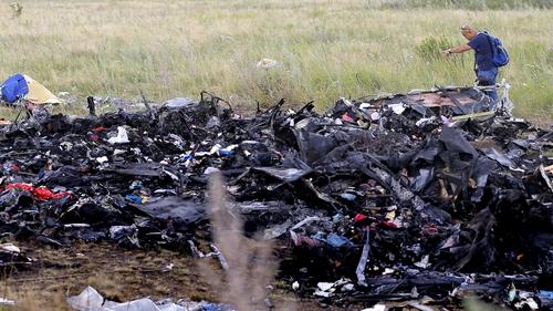 The scene of the crash site in eastern Ukraine