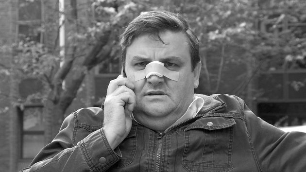 Spider's Trap (Simon Delaney pictured) - Was filmed in black and white on the streets of Dublin