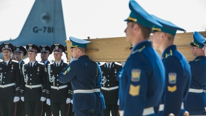The dignified ceremony was in stark contrast to the body retrieval by pro-Russian rebels following the crash