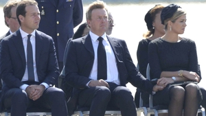 (L-R) Dutch Deputy Prime Minister Lodewijk Asscher, King Willem-Alexander, Queen Maxima at the airbase in Eindhoven