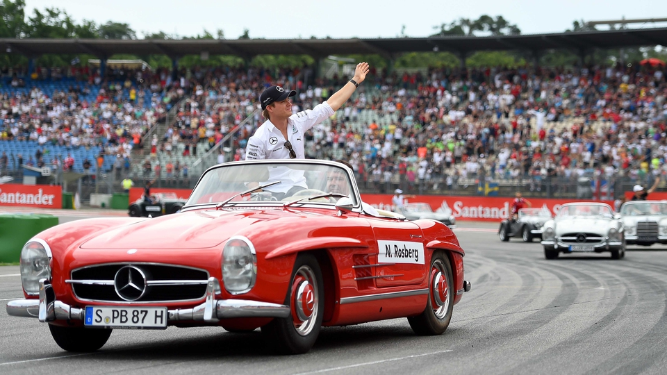 Nico Rosberg takes part in the drivers' parade before the German Grand Prix at Hockenheimring on Sunday