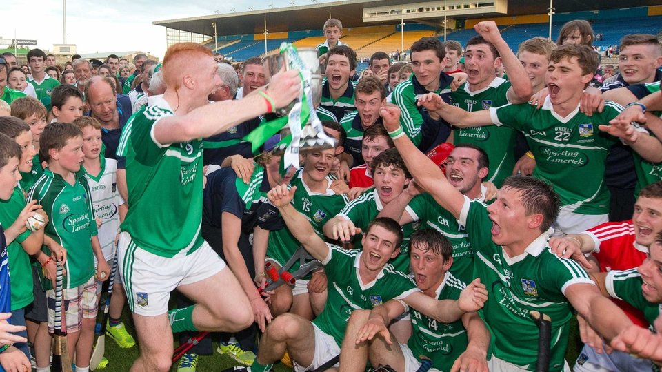 Limerick captain Cian Lynch celebrates with the team after winning the Munster GAA Minor Hurling Championship trophy on Tuesday