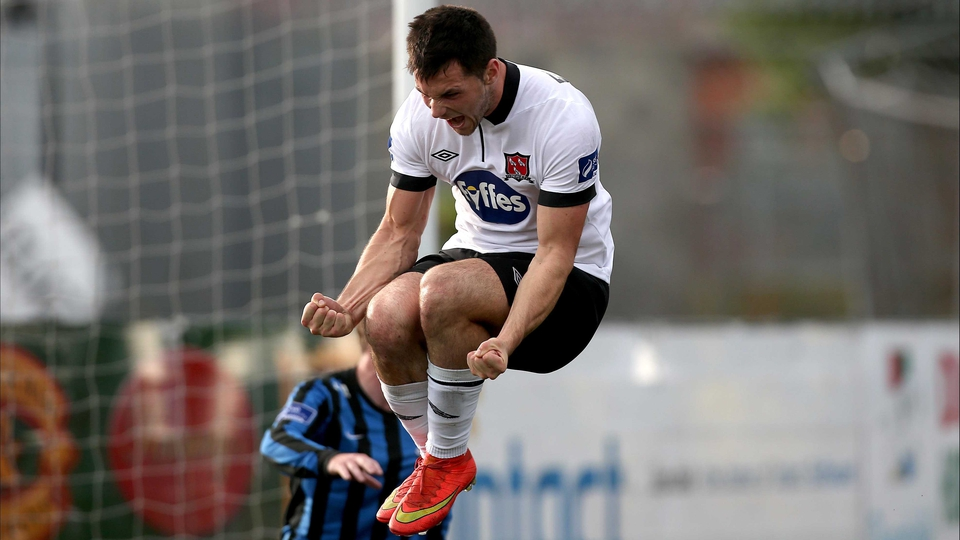 Dundalk's Patrick Hoban celebrates scoring the first goal of the game on Sunday against Athlone Town