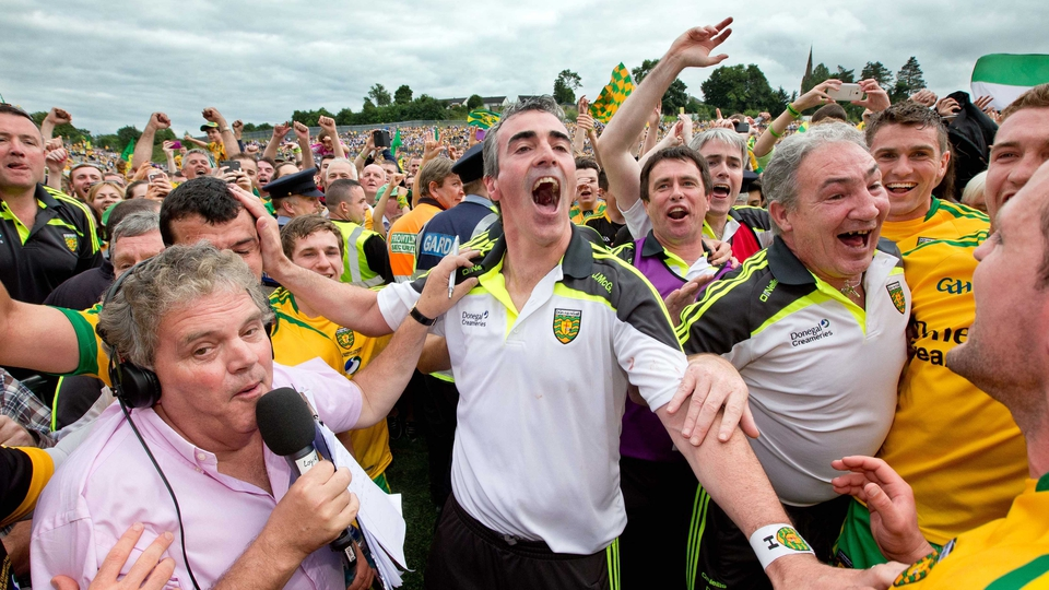 Jim McGuinness celebrates winning the Ulster SFC title on Sunday