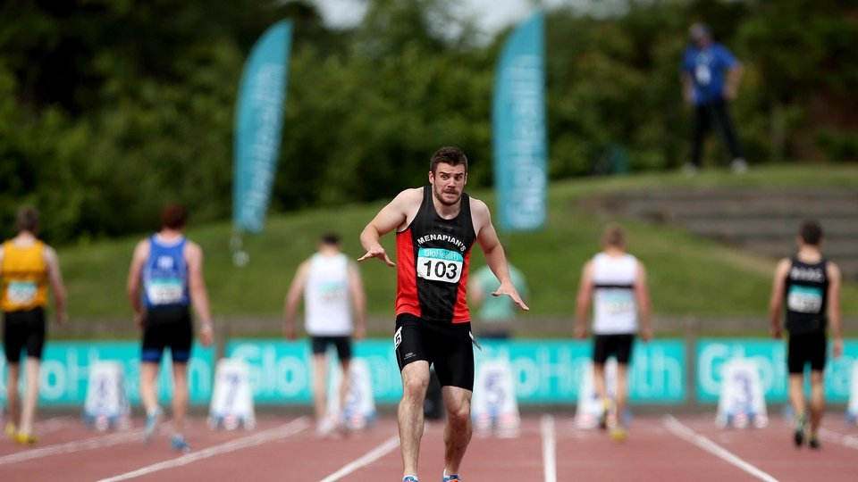 Defending champion David Hynes of Menapians AC reacts nervously after a false start for which he was later disqualified at the National Championships on Sunday