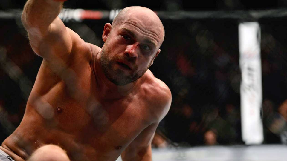 Cathal Pendred after beating Mike King - seriously, this is him after he won - at the UFC fight night event in Dublin on Saturday