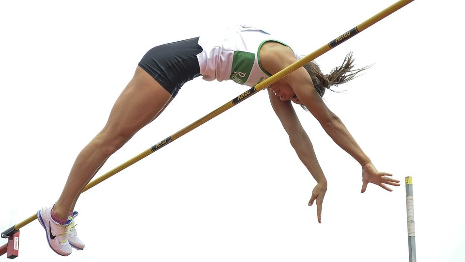 Zoe Brown competing in the pole vault at the National Championships at Santry on Saturday