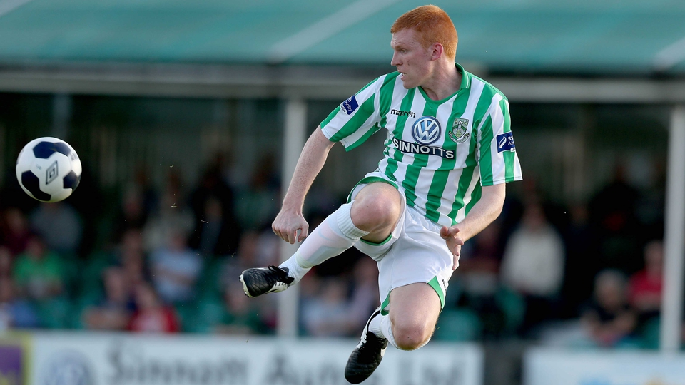 Adam Mitchell in action for Bray Wanderers against Shamrock Rovers on Friday