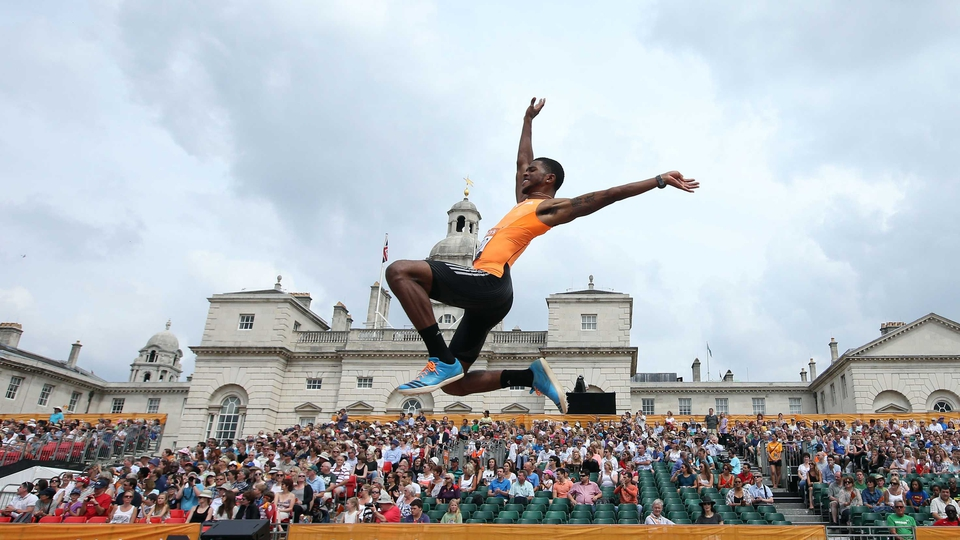 USA's Mike Hartfield in the long jump during the London Anniversary Games at Horse Guards Parade, London on Sunday