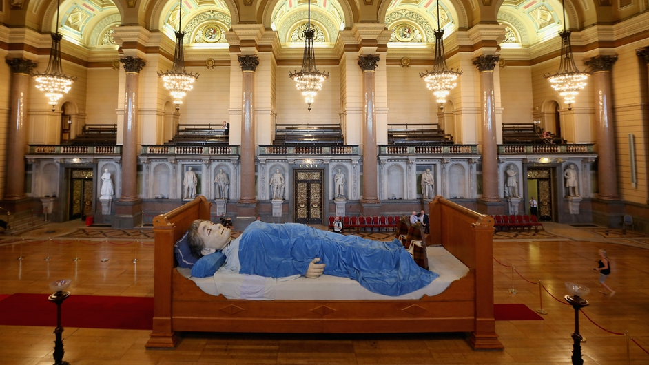 Grandmother Giant sleeps in St George's Hall, one of the giant Royal De Luxe street puppets taking part in Liverpool's World War I centenary commemorations
