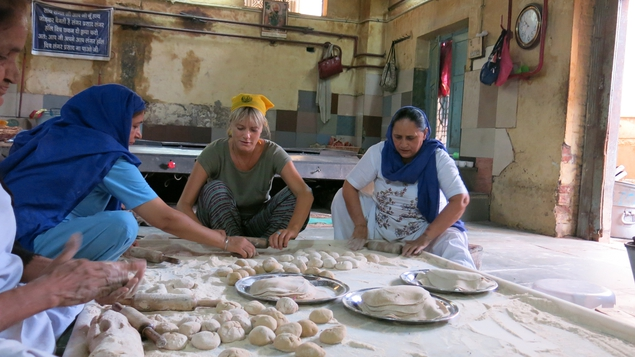 Deirdre Mullins rolls chapatti dough